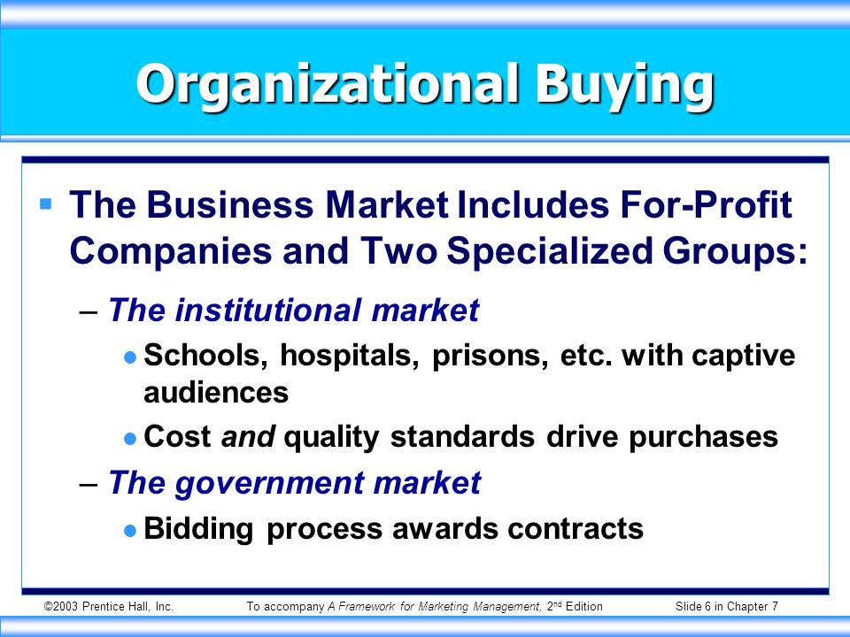 ©2003 Prentice Hall, Inc.To accompany A Framework for Marketing Management, 2 nd Edition Slide 6 in Chapter 7 Organizational Buying  The Business Market Includes For-Profit Companies and Two Specialized Groups: –The institutional market Schools, hospitals, prisons, etc.