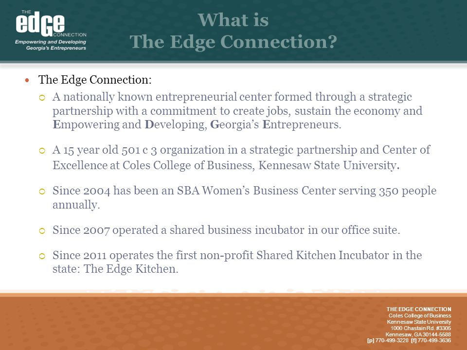 The Edge Connection Micro Business Center Business And Kitchen Incubator Models Ppt Download