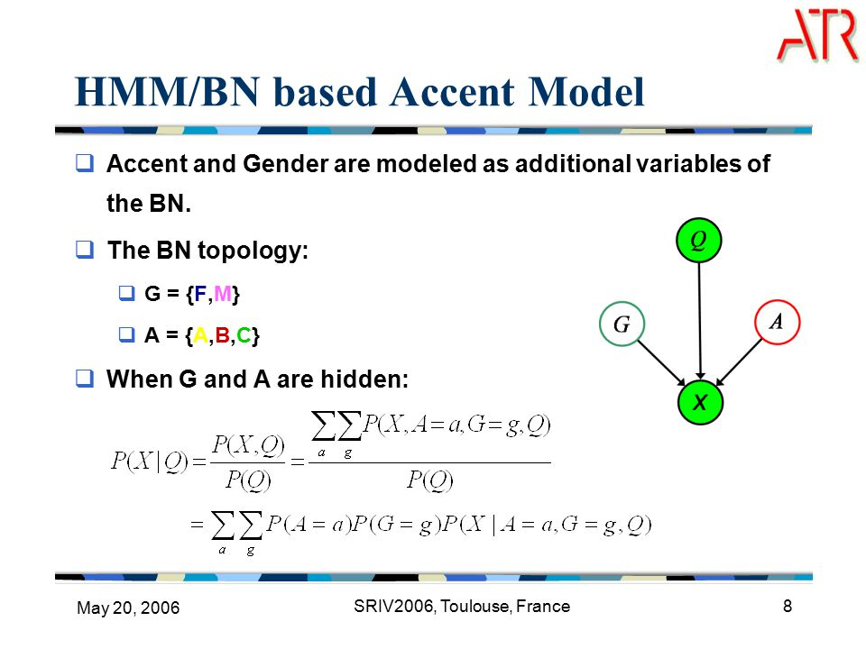May 20, 2006 SRIV2006, Toulouse, France8 HMM/BN based Accent Model  Accent and Gender are modeled as additional variables of the BN.