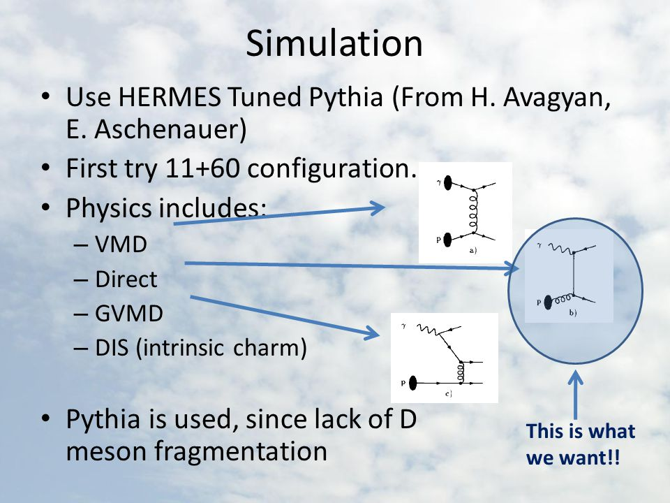 Simulation Use HERMES Tuned Pythia (From H. Avagyan, E.