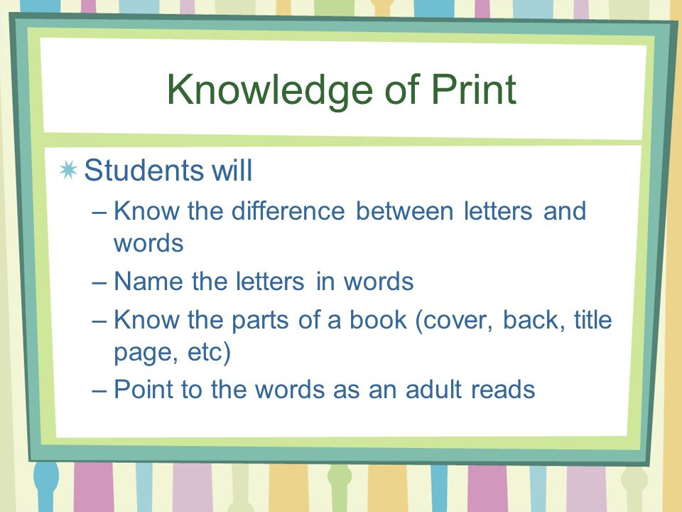 Knowledge of Print Students will –Know the difference between letters and words –Name the letters in words –Know the parts of a book (cover, back, title page, etc) –Point to the words as an adult reads