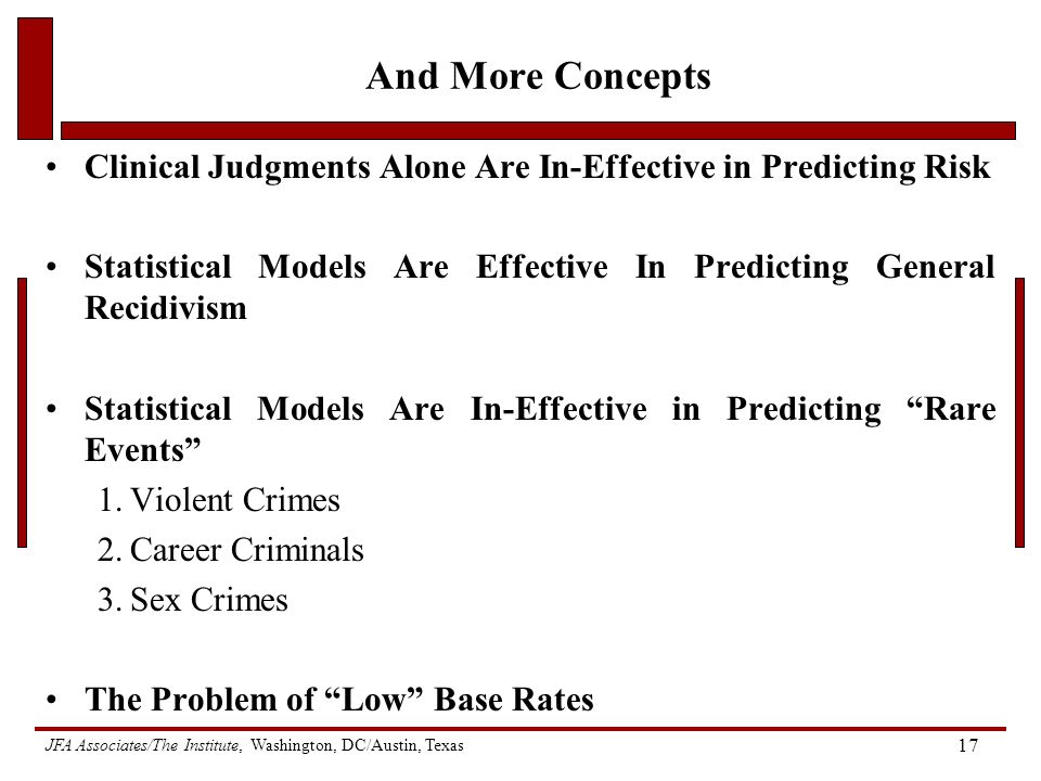 JFA Associates/The Institute, Washington, DC/Austin, Texas 17 And More Concepts Clinical Judgments Alone Are In-Effective in Predicting Risk Statistical Models Are Effective In Predicting General Recidivism Statistical Models Are In-Effective in Predicting Rare Events 1.Violent Crimes 2.Career Criminals 3.Sex Crimes The Problem of Low Base Rates