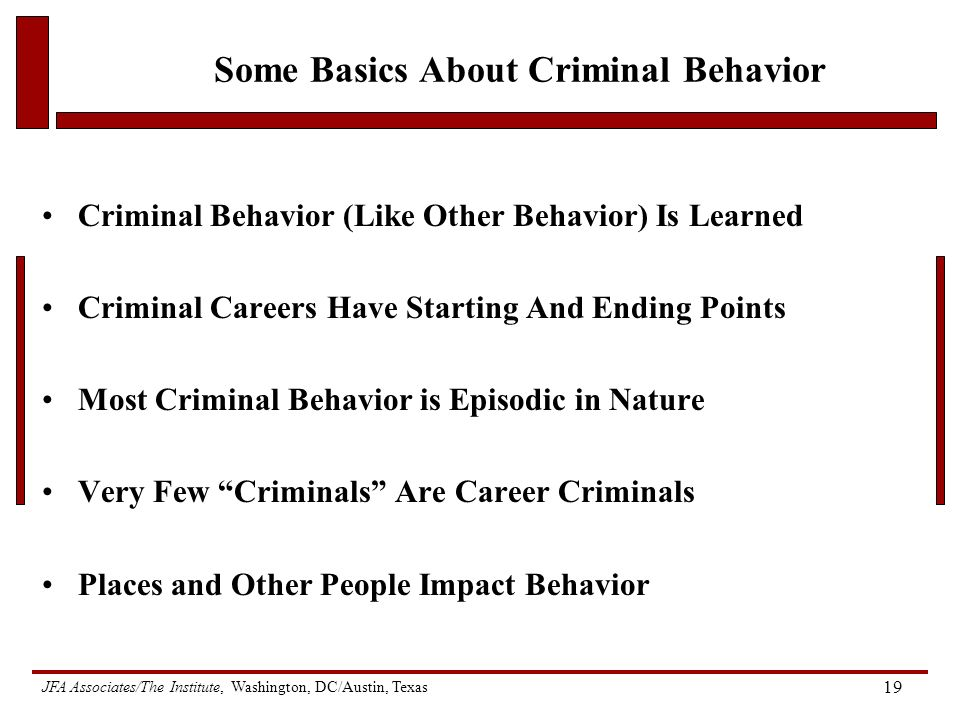 JFA Associates/The Institute, Washington, DC/Austin, Texas 19 Some Basics About Criminal Behavior Criminal Behavior (Like Other Behavior) Is Learned Criminal Careers Have Starting And Ending Points Most Criminal Behavior is Episodic in Nature Very Few Criminals Are Career Criminals Places and Other People Impact Behavior