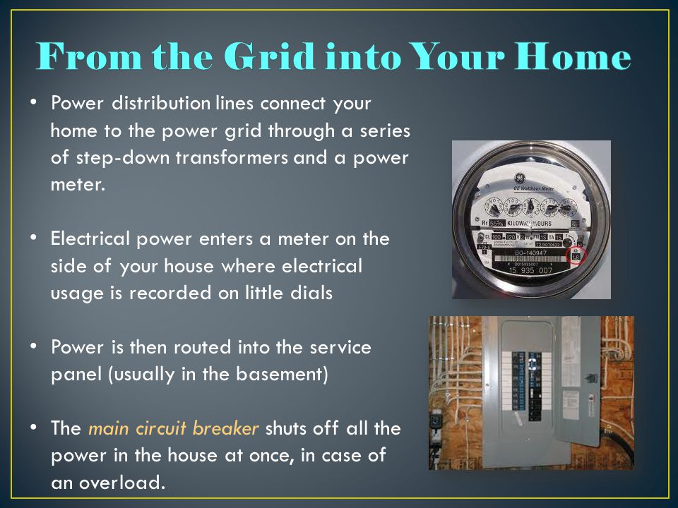 Power distribution lines connect your home to the power grid through a series of step-down transformers and a power meter.