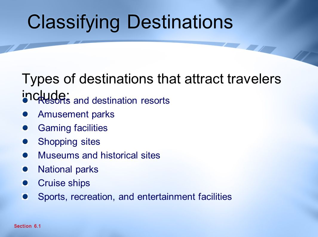 Classifying Destinations Types of destinations that attract travelers include: Section 6.1 Resorts and destination resorts Amusement parks Gaming facilities Shopping sites Museums and historical sites National parks Cruise ships Sports, recreation, and entertainment facilities