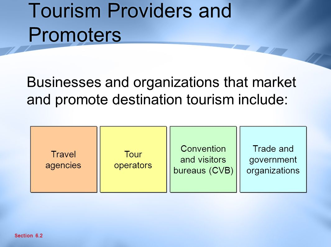 Tourism Providers and Promoters Businesses and organizations that market and promote destination tourism include: Section 6.2 Travel agencies Tour operators Convention and visitors bureaus (CVB) Trade and government organizations