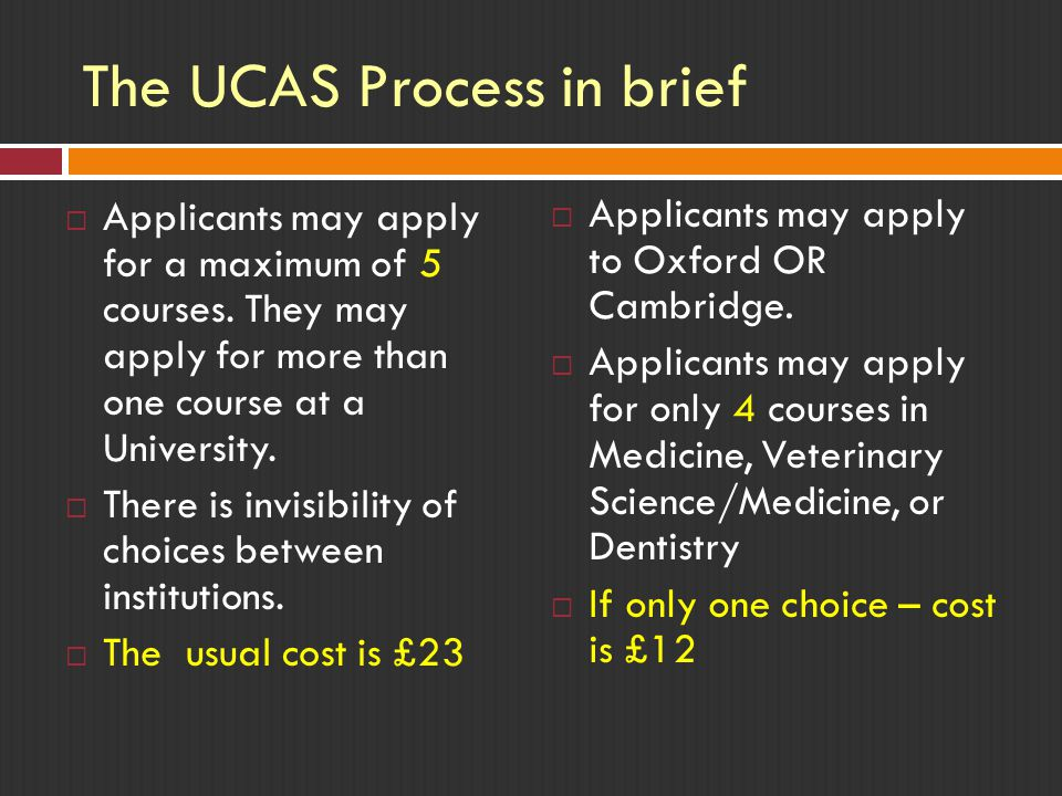 The UCAS Process in brief  Applicants may apply for a maximum of 5 courses.