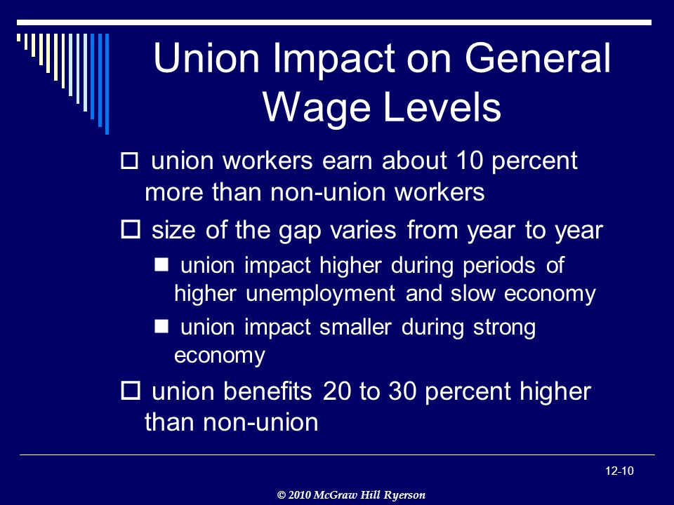 © 2010 McGraw Hill Ryerson Union Impact on General Wage Levels  union workers earn about 10 percent more than non-union workers  size of the gap varies from year to year union impact higher during periods of higher unemployment and slow economy union impact smaller during strong economy  union benefits 20 to 30 percent higher than non-union