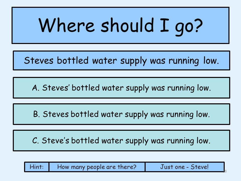 Where should I go. Steves bottled water supply was running low.