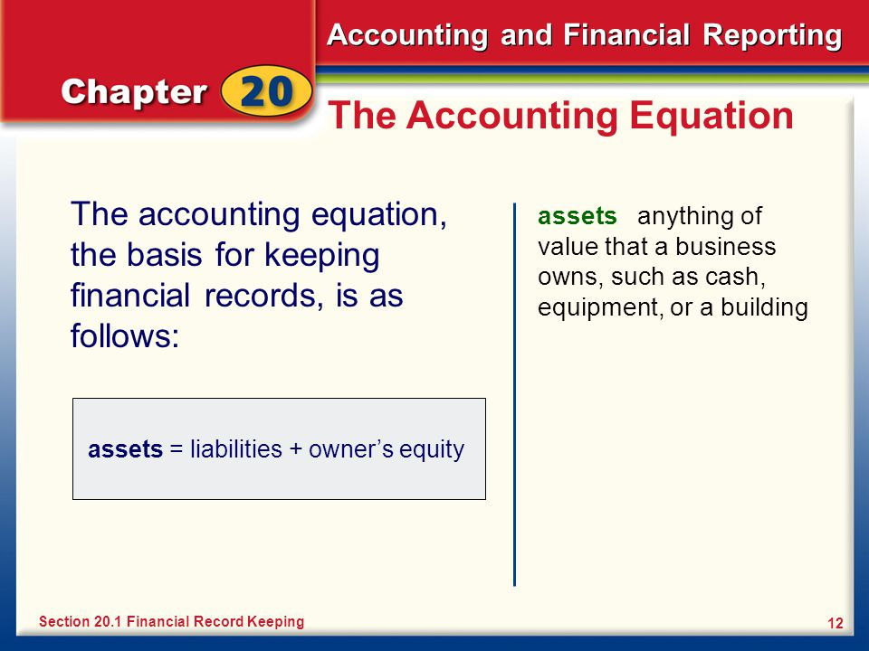 Accounting and Financial Reporting 12 The Accounting Equation The accounting equation, the basis for keeping financial records, is as follows: assets anything of value that a business owns, such as cash, equipment, or a building Section 20.1 Financial Record Keeping assets = liabilities + owner's equity