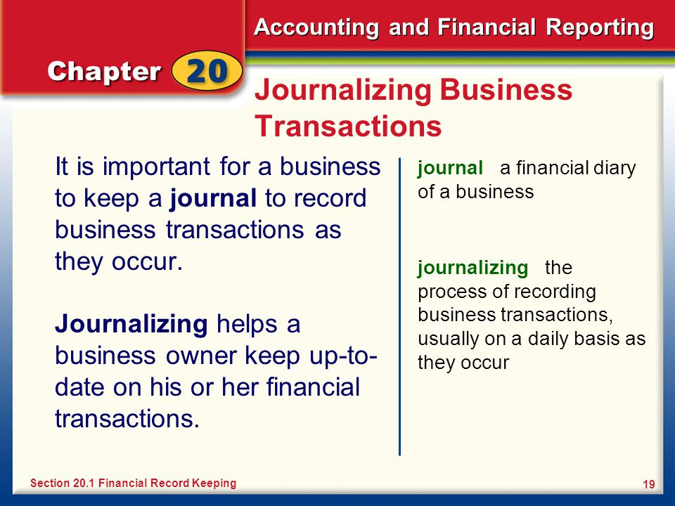 Accounting and Financial Reporting 19 Journalizing Business Transactions It is important for a business to keep a journal to record business transactions as they occur.