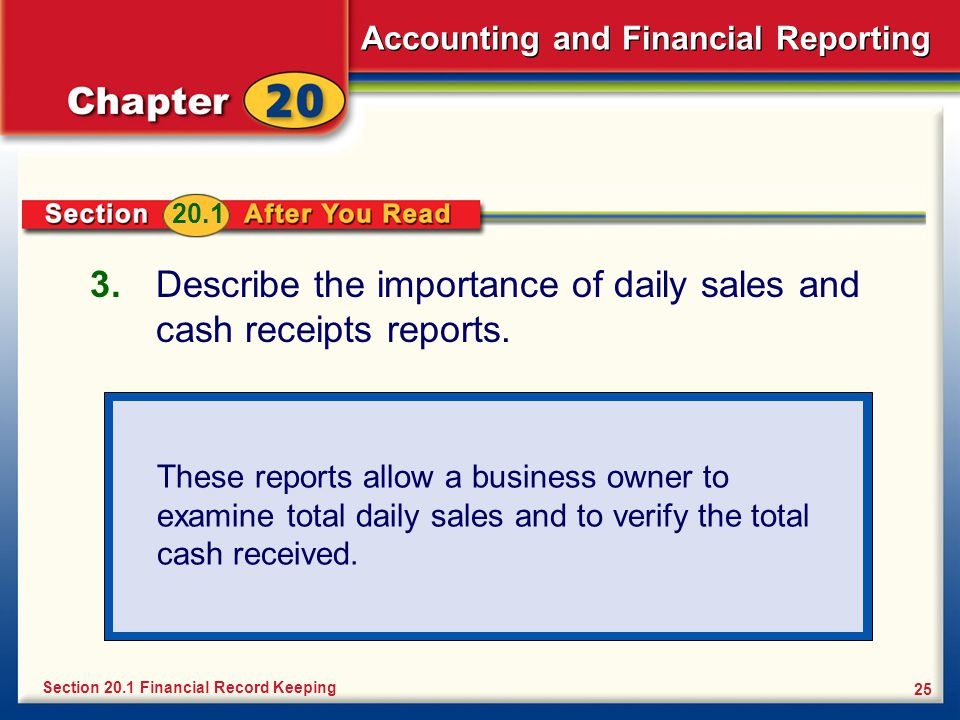 Accounting and Financial Reporting 25 3.