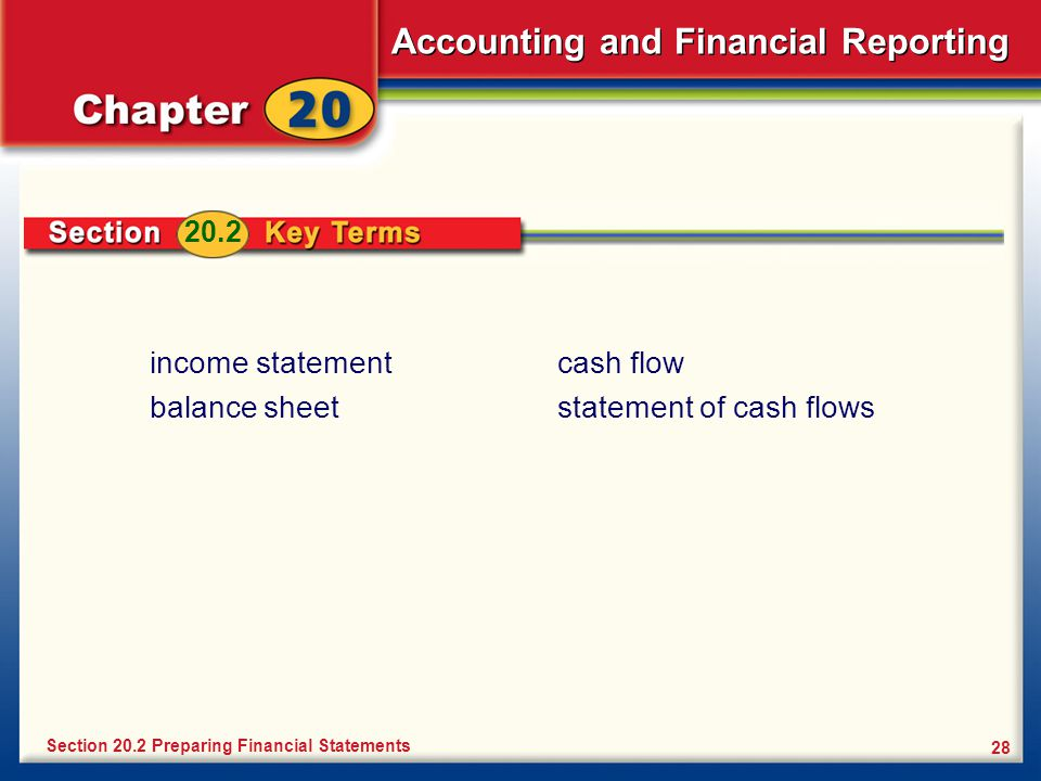 Accounting and Financial Reporting 28 income statement balance sheet Section 20.2 Preparing Financial Statements 20.2 cash flow statement of cash flows