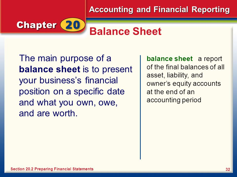 Accounting and Financial Reporting 32 Balance Sheet The main purpose of a balance sheet is to present your business's financial position on a specific date and what you own, owe, and are worth.