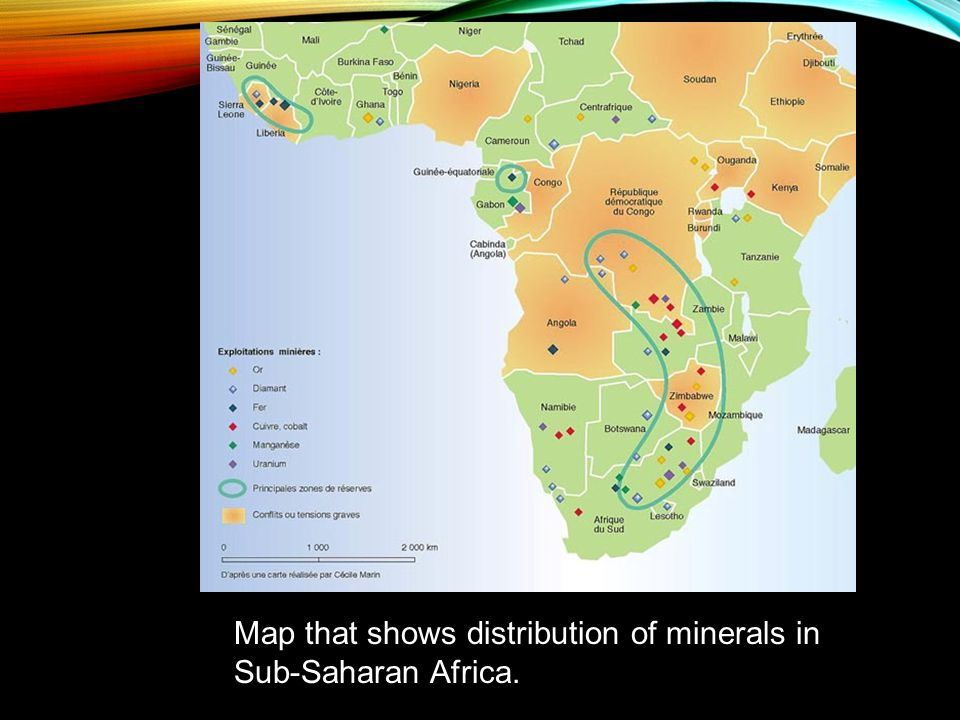 Map that shows distribution of minerals in Sub-Saharan Africa.
