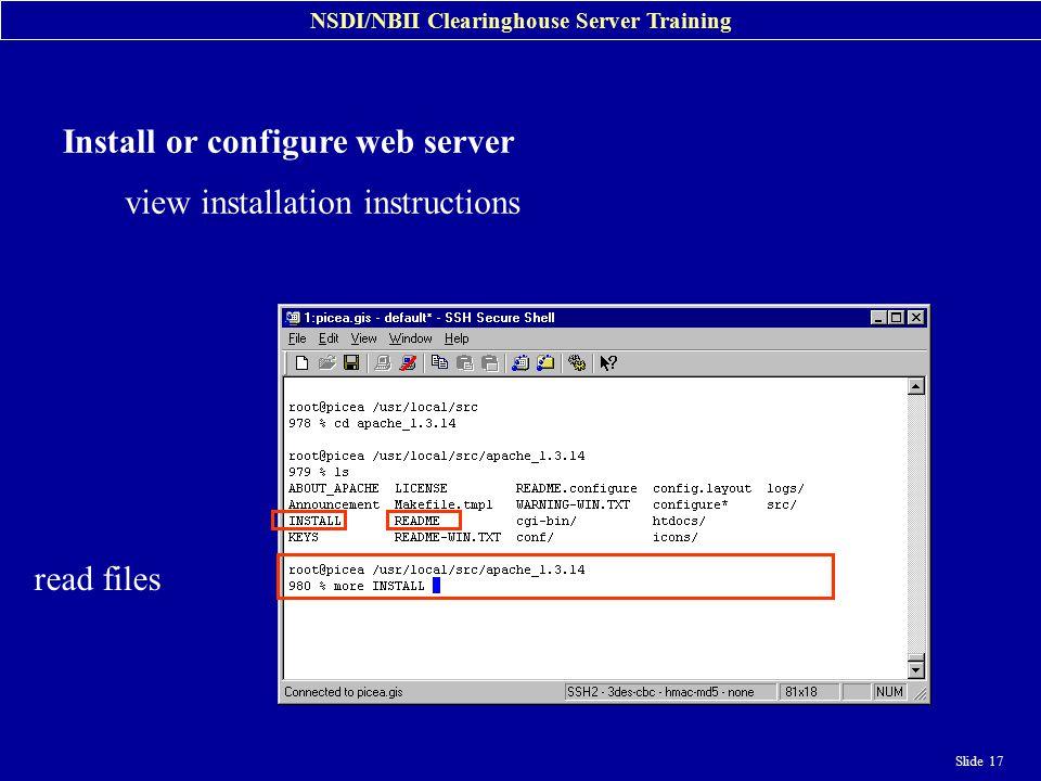 NSDI/NBII Clearinghouse Server Training Slide 1 NSDI/NBII