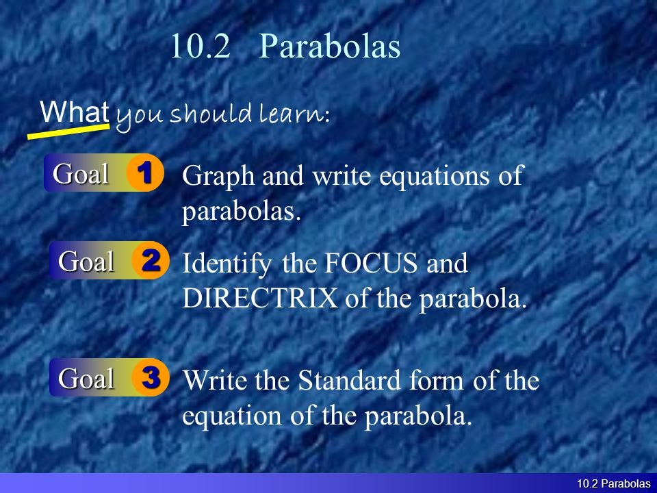 10.2 Parabolas What you should learn: Goal1 Goal2 Graph and write equations of parabolas.