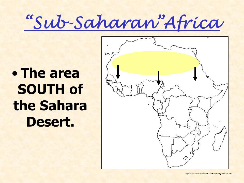 Sub-Saharan Africa The area SOUTH of the Sahara Desert.