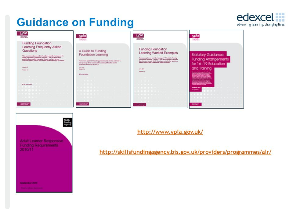 Guidance on Funding
