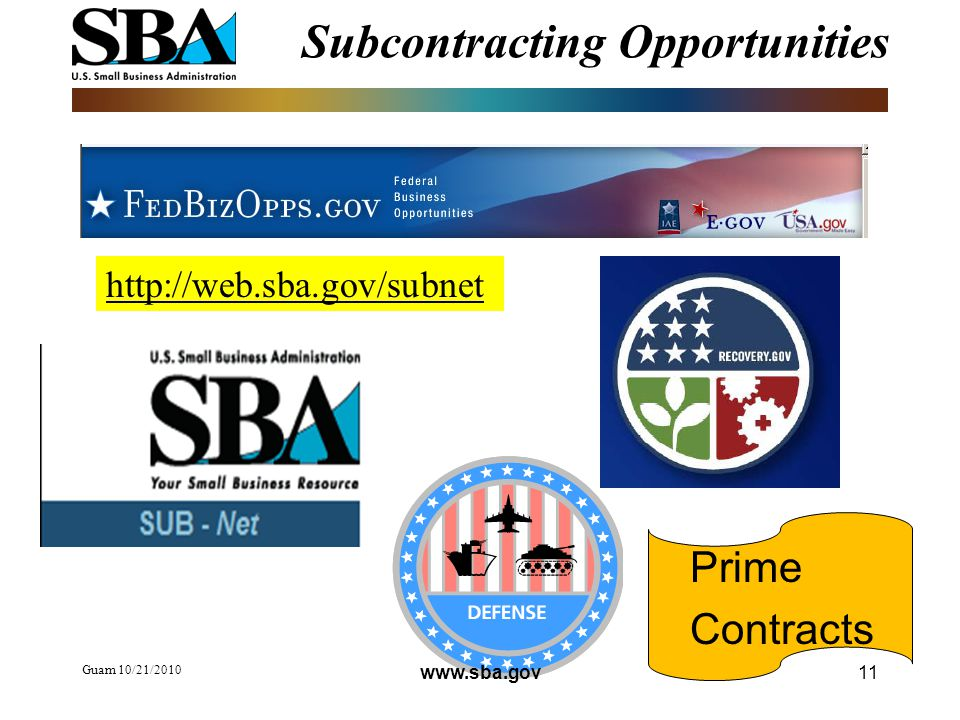 Subcontracting Opportunities Guam 10/21/ Prime Contracts