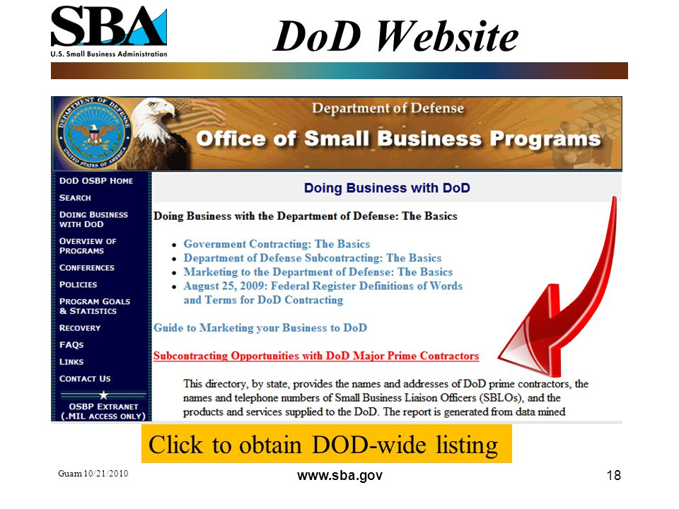 Guam 10/21/ DoD Website Click to obtain DOD-wide listing