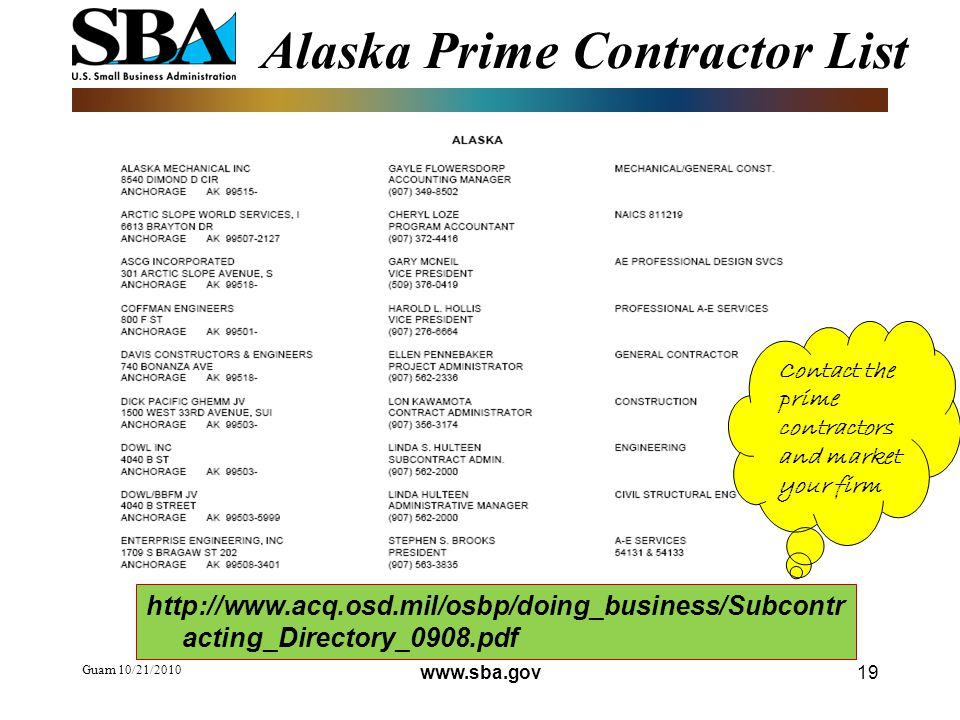 Guam 10/21/ Alaska Prime Contractor List   acting_Directory_0908.pdf Contact the prime contractors and market your firm
