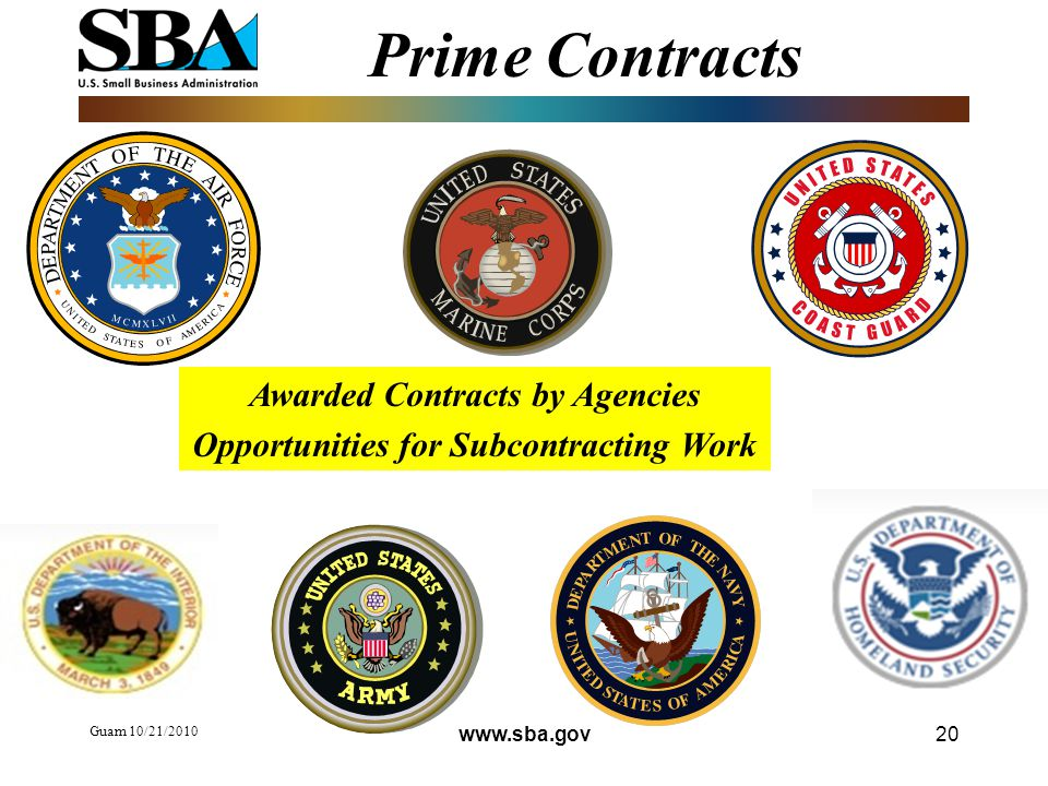 Prime Contracts Guam 10/21/ Awarded Contracts by Agencies Opportunities for Subcontracting Work