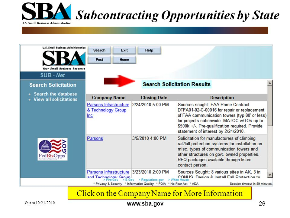 Guam 10/21/ Subcontracting Opportunities by State Click on the Company Name for More Information