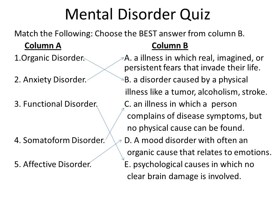 Mental Disorder Quiz Match the Following: Choose the BEST answer from column B.