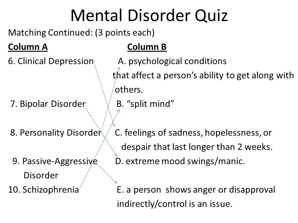 Mental Disorder Quiz Matching Continued: (3 points each) Column AColumn B 6.