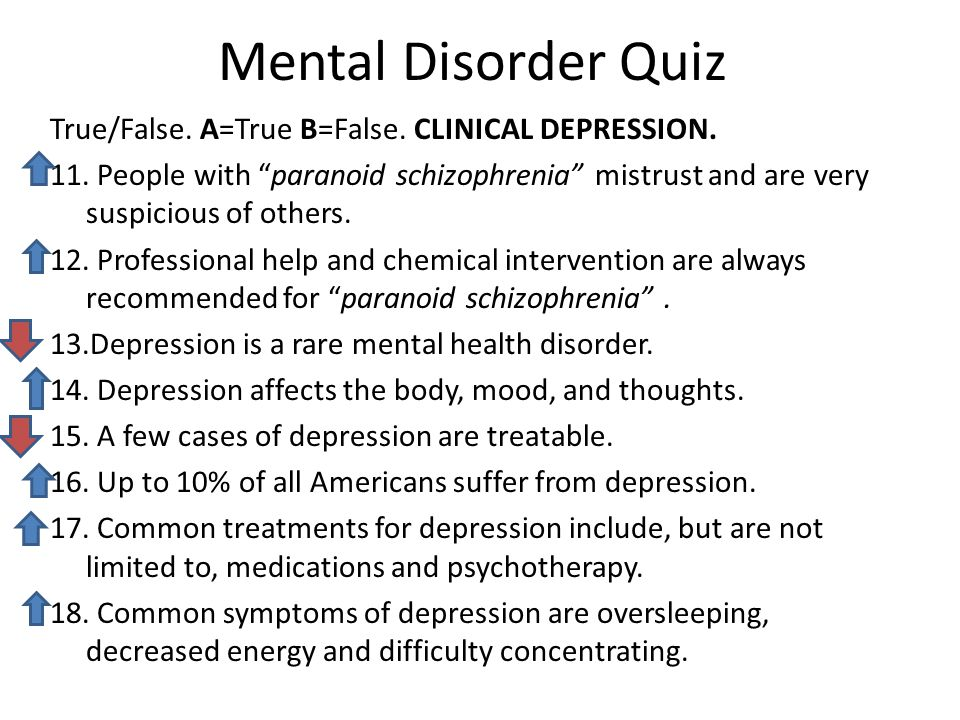 Mental Disorder Quiz True/False. A=True B=False. CLINICAL DEPRESSION.