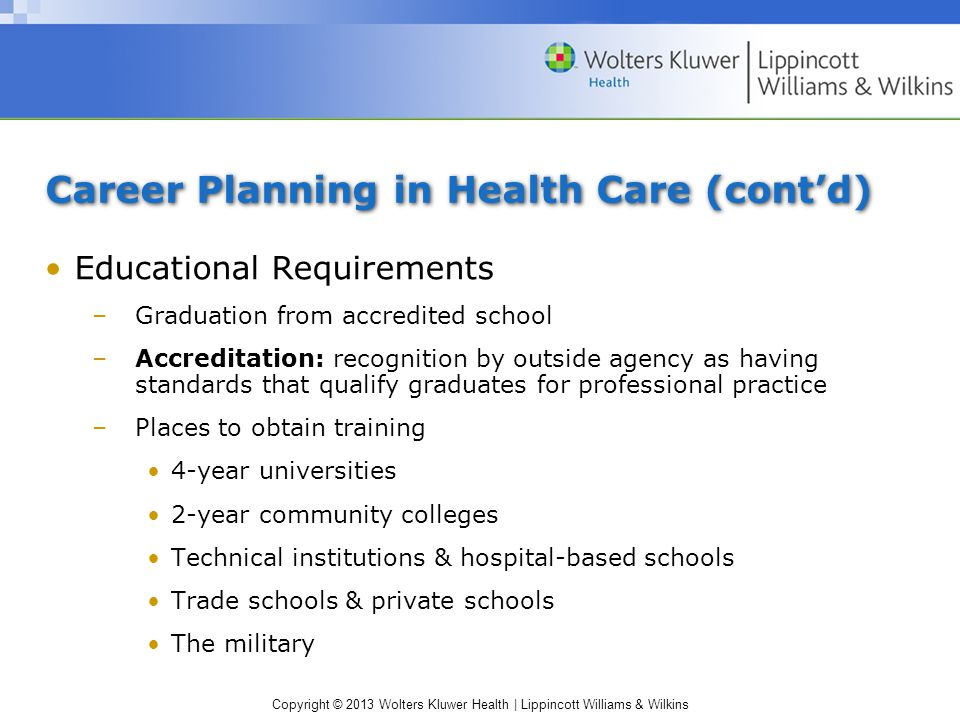 Copyright © 2013 Wolters Kluwer Health | Lippincott Williams & Wilkins Career Planning in Health Care (cont'd) Educational Requirements –Graduation from accredited school –Accreditation: recognition by outside agency as having standards that qualify graduates for professional practice –Places to obtain training 4-year universities 2-year community colleges Technical institutions & hospital-based schools Trade schools & private schools The military