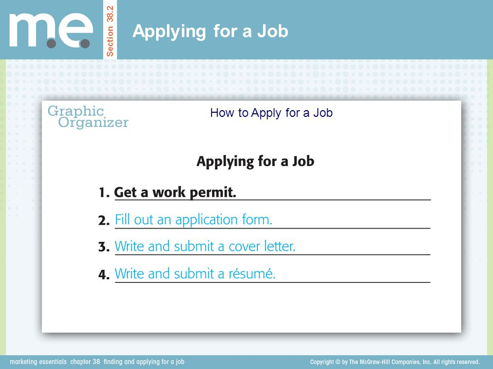 Applying for a Job How to Apply for a Job Section 38.2