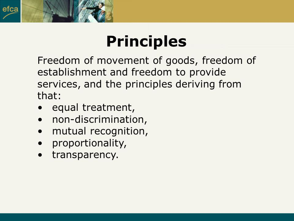 Principles Freedom of movement of goods, freedom of establishment and freedom to provide services, and the principles deriving from that: equal treatment, non-discrimination, mutual recognition, proportionality, transparency.