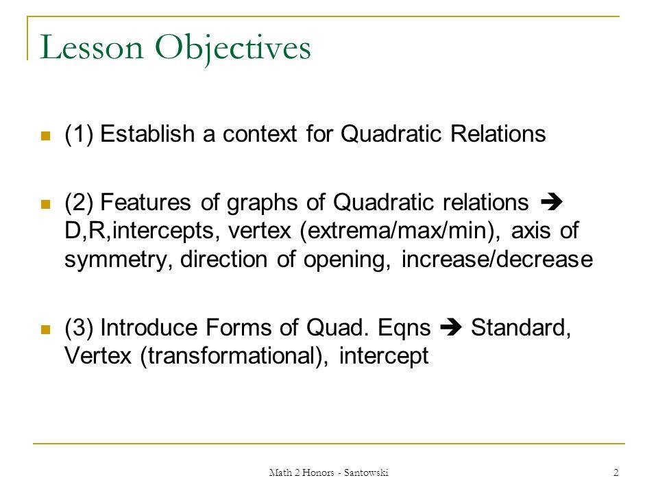 Math 2 Honors Santowski1 Unit 3 Quadratic Functions Math 2