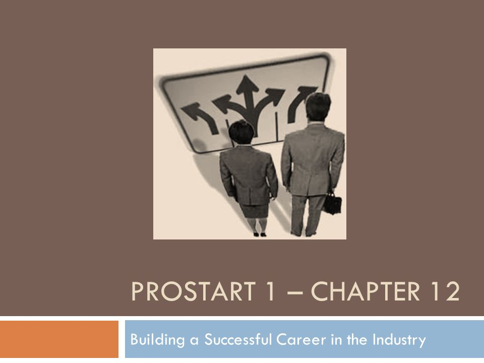 PROSTART 1 – CHAPTER 12 Building a Successful Career in the Industry