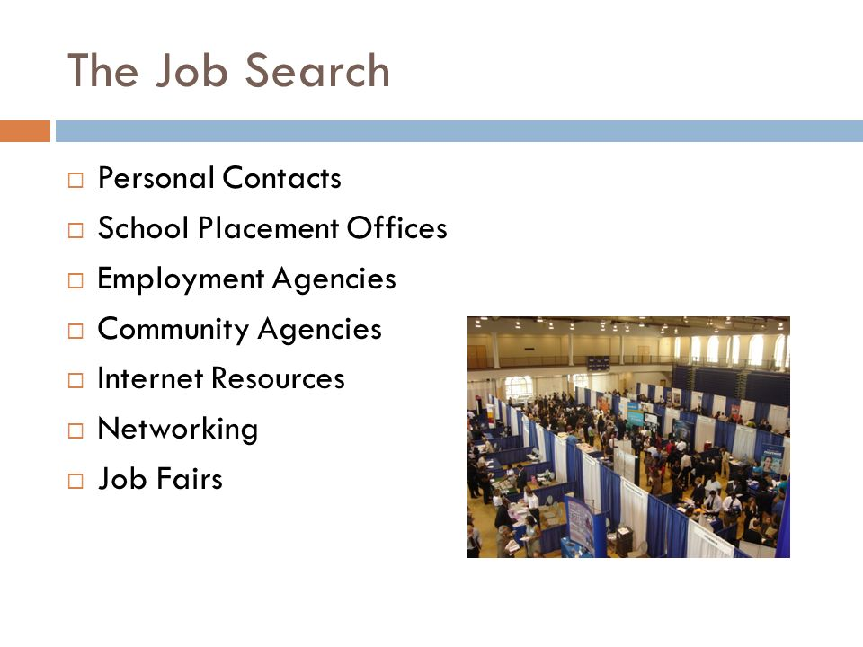 The Job Search  Personal Contacts  School Placement Offices  Employment Agencies  Community Agencies  Internet Resources  Networking  Job Fairs