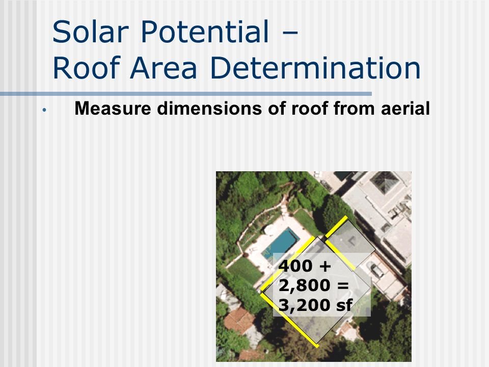 Solar Potential Analysis – Ensure Roof Compatibility Determine roof type (validated with on-site survey) Examples: _ Tile _ Asphalt Shingle _ Composite _ Tar and Gravel