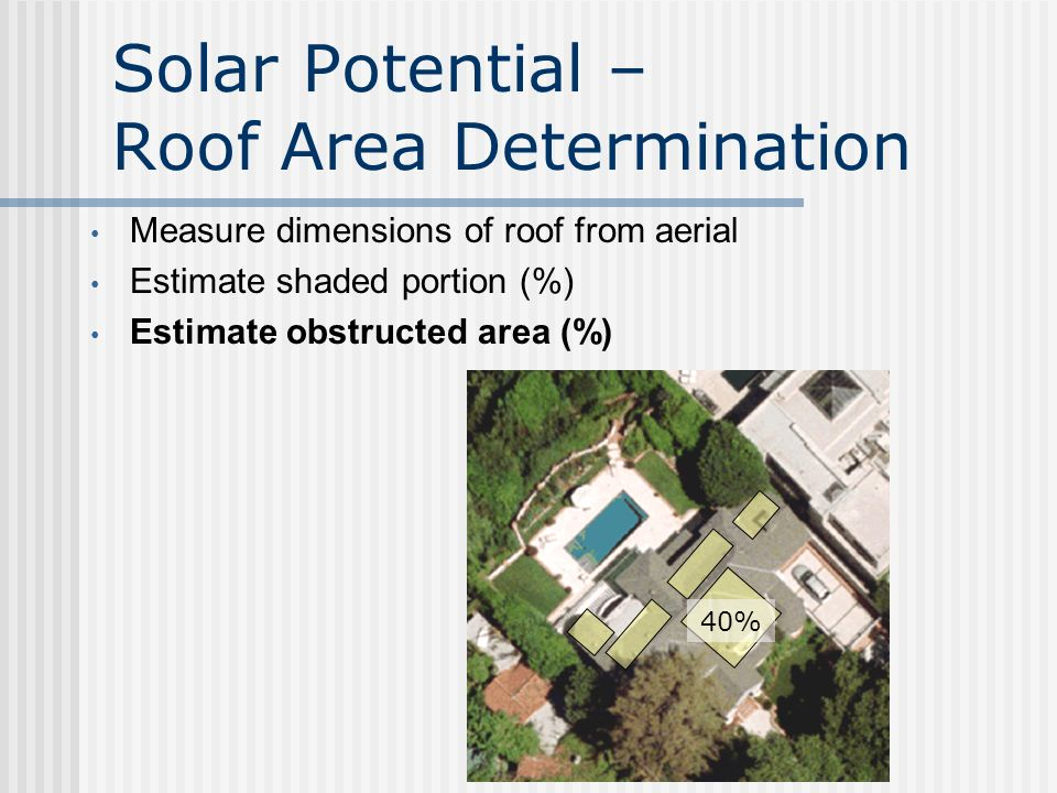 Solar Potential – Roof Area Determination Measure dimensions of roof from aerial Estimate shaded portion (%) 35%