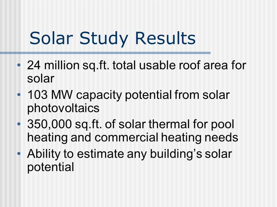 Solar Potential – Roof Area Determination Measure dimensions of roof from aerial Estimate shaded portion (%) Estimate obstructed area (%) Account for roof type __ Tile __ Asphalt Shingle __ Composite __ Tar and Gravel  Example: 3,200 sf - 35% - 40% = 800 sf