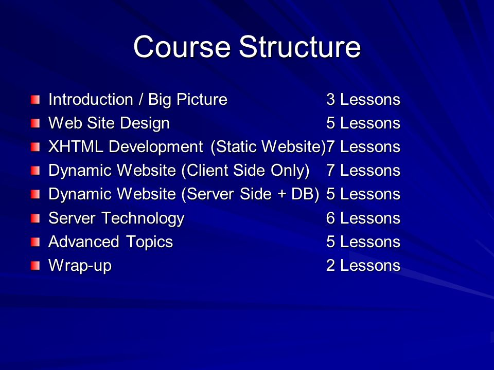 Course Structure Introduction / Big Picture3 Lessons Web Site Design 5 Lessons XHTML Development (Static Website)7 Lessons Dynamic Website (Client Side Only)7 Lessons Dynamic Website (Server Side + DB)5 Lessons Server Technology6 Lessons Advanced Topics5 Lessons Wrap-up2 Lessons