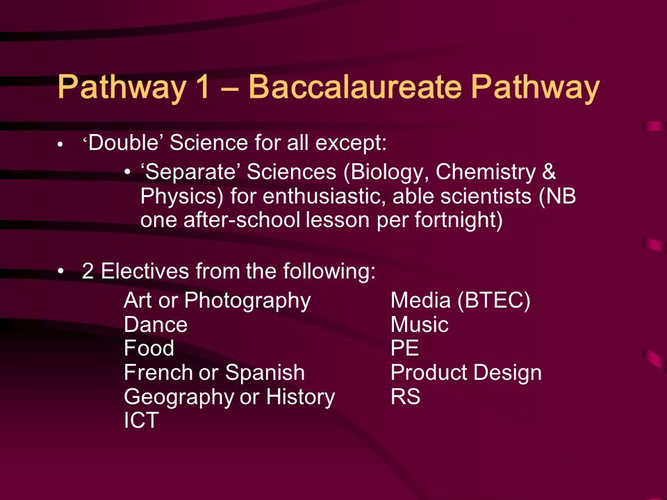 Pathway 1 – Baccalaureate Pathway ' Double' Science for all except: 'Separate' Sciences (Biology, Chemistry & Physics) for enthusiastic, able scientists (NB one after-school lesson per fortnight) 2 Electives from the following: Art or PhotographyMedia (BTEC) Dance Music FoodPE French or SpanishProduct Design Geography or HistoryRS ICT