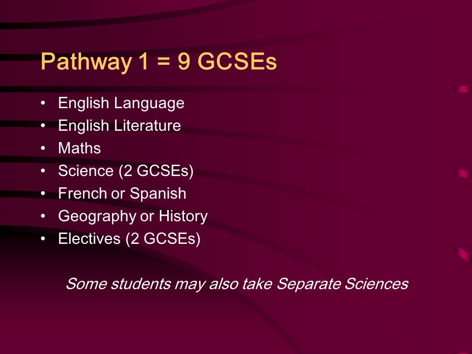 Pathway 1 = 9 GCSEs English Language English Literature Maths Science (2 GCSEs) French or Spanish Geography or History Electives (2 GCSEs) Some students may also take Separate Sciences