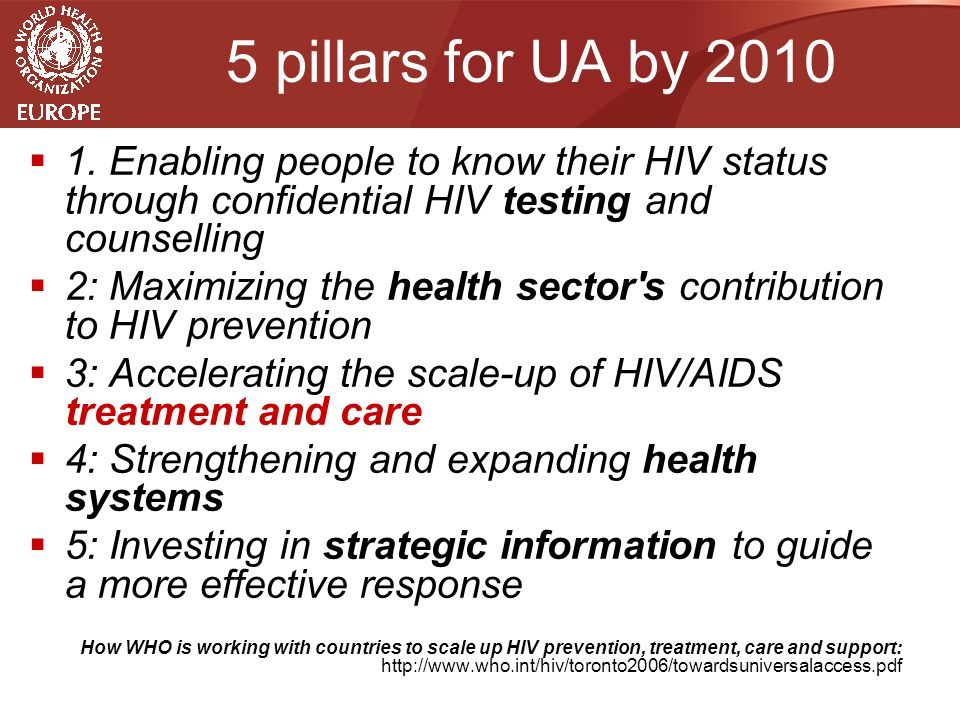 5 pillars for UA by 2010  1.
