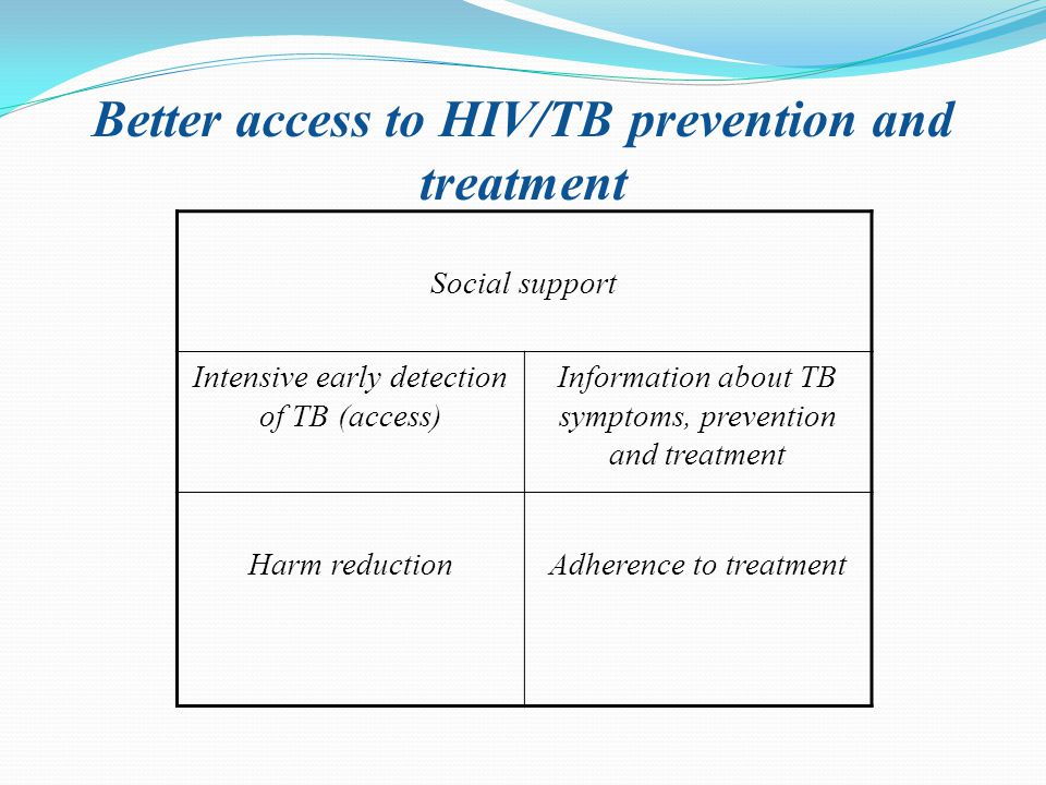 Better access to HIV/TB prevention and treatment Social support Intensive early detection of TB (access) Information about TB symptoms, prevention and treatment Harm reductionAdherence to treatment