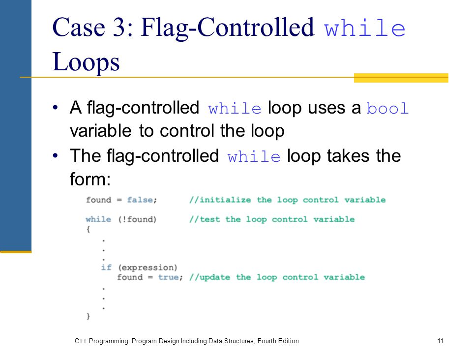 C++ Programming: Program Design Including Data Structures, Fourth Edition11 Case 3: Flag-Controlled while Loops A flag-controlled while loop uses a bool variable to control the loop The flag-controlled while loop takes the form: