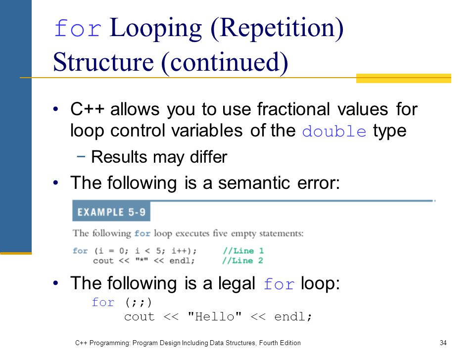 C++ Programming: Program Design Including Data Structures, Fourth Edition34 for Looping (Repetition) Structure (continued) C++ allows you to use fractional values for loop control variables of the double type −Results may differ The following is a semantic error: The following is a legal for loop: for (;;) cout << Hello << endl;