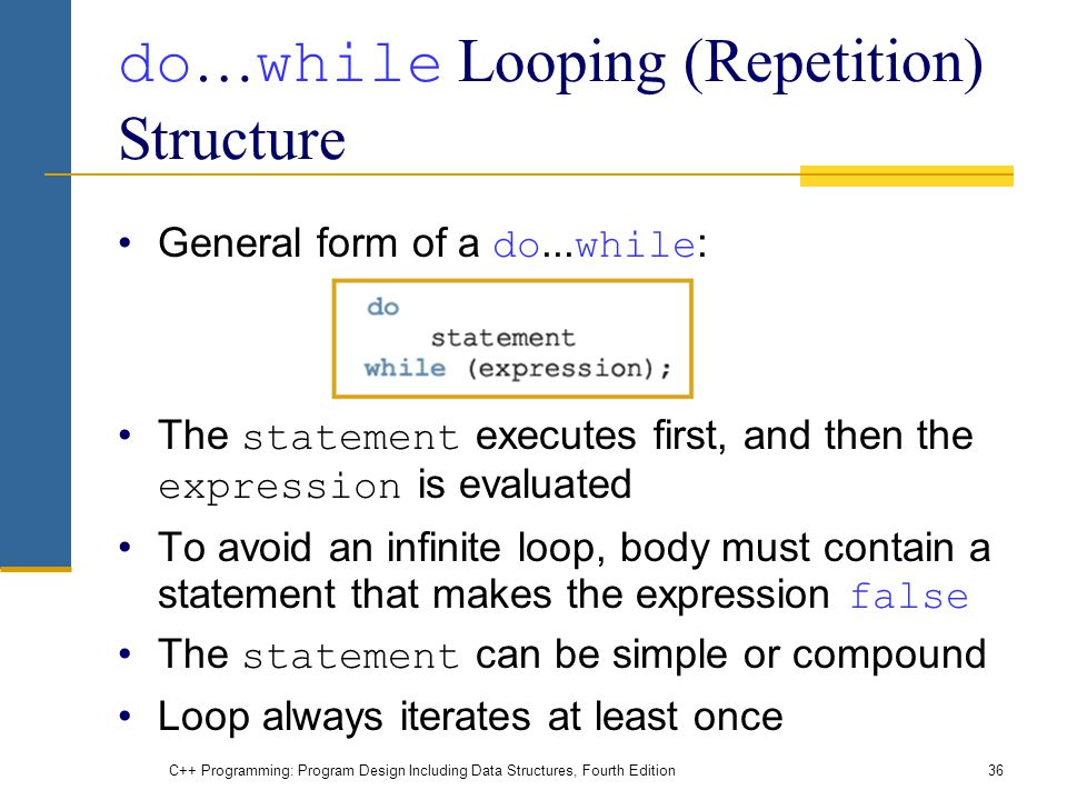 C++ Programming: Program Design Including Data Structures, Fourth Edition36 do … while Looping (Repetition) Structure General form of a do...