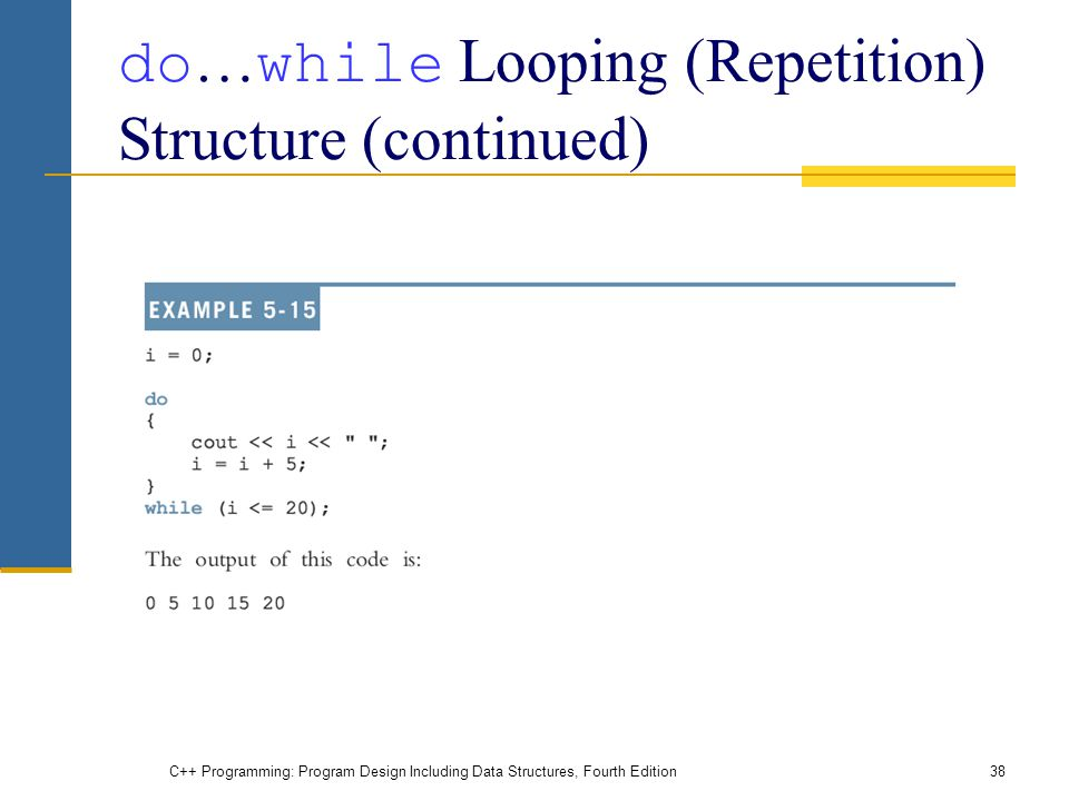 C++ Programming: Program Design Including Data Structures, Fourth Edition38 do … while Looping (Repetition) Structure (continued)