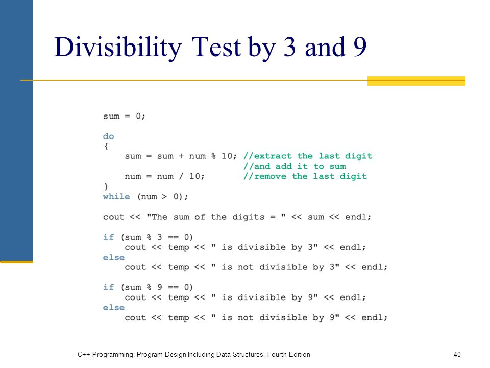 C++ Programming: Program Design Including Data Structures, Fourth Edition40 Divisibility Test by 3 and 9
